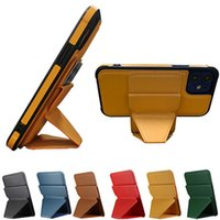 Slot Holder Folding Stand For iPhone 12 Pro Max Mini Macsafe Magsafing Wallet Cases Cover Magnetic Leather Card Bag