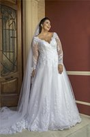 Long Sleeves Plus Size A Line Wedding Gowns V Neck Lace Applique Tulle Bridal Dress Zipper Back