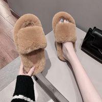 Slippers Winter Women House Faux Fur Fashion Plush Warm Shoes Woman Slip On Flats Female Slides Home Furry Wholesale