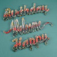 DIY Letters Mold Happy Birthday Welcome Silicone Mould Epoxy Resin Craft Door Hanging Molds Silica Gel 5yma G2 O38Y DXO8