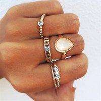 جديد مجوهرات أزياء هندسية البطانة الماس قطرة الماء تويست جوفاء بسيط حلقة مشتركة خمسة قطعة مجموعة 1363 Q2