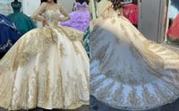 Blingbling Sequined Gold Lace Quinceanera Prom Dresses 2022 Beaded Long Illusion Sleeves Embroidery Mexican Charro De Party Formal Sweet 16 Dress Vestidos 15 Anos