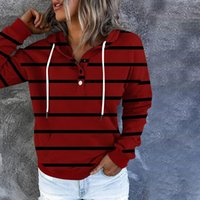 Women's Sweaters Autumn Winter Women Striped Printed Fleece Hooded Sweatshirt Fashion Casual Thicken Drawstring Pocket Hoodies Pullover Top