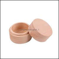 Packaging & Display Jewelrysmall Round Wooden Storage Boxes Ring Vintage Decorative Natural Craft Jewelry Box Case Wedding Aessories61 Q2 Dr