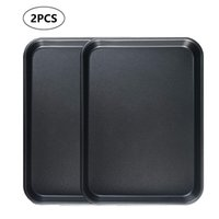 2PCS Bakeware Set Non-Stick Cookie Sheet Pan Carbon Steel Cake Pizza Oven Tray Square Plate Roasting Tin Baking Tools