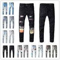 Célèbre marquée droite Jeans déchirés Hommes Skinny Slim Moto Moteur Vélo Vélo Pantalon 100% coton Amir 3