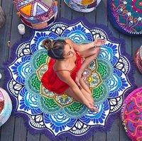 Mantas de yoga Comercio exterior Polígono Impresión de la toalla circular de la borla Matada de la playa de loto de loto colorido