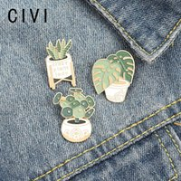 LADY Potted Green Leaf Enamel Broochs For Women Monstera Sansevieria Brooches Badges Gift Friends Pins,