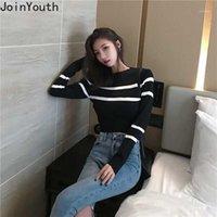 Joinyouth coréen femmes pull plein pulls à manches courtes de cou rayé 2020 nouveau printemps mince femme sauvage suace mujer 5271