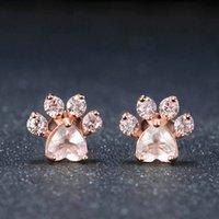 Gold Footprints Cute Cat Claw Copper Zircon Ear Studs Earrings