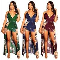 Женские Jumsuits Rompers Playsuits Цветы Отпечатки с оборками Асимметричные зеленые синие красные сексуальные тощие моды продают коммуникации
