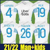 Maillot Marselha Camisas de futebol 2021 2022 om África camisas especiais Kamara Payet Thauvin Jersey Jersey Rongier Amavi Caleta Benedetto Milik Uniformes Home Top