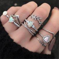 Vintage prata Bohemian 9pcs / set anéis para mulheres CZ Zircon Cristal Geométrico Opal Opal Dedo Anel de dedo Handmade