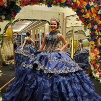 Sexy Dark Blue Gold Embroidery Ruffles Puffy Quinceanera Prom Dresses Ball Gown Organza Satin 2022 Pleated High Neck Long Evening party dress Vestidos 15 Anos