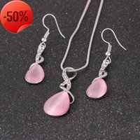 Two piece set of diamond inlaid water drop necklace earrings for bridal wedding dress and opal accessories