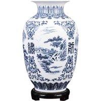 Jingdezhenセラミックレトロ - 古代の風景のダムブルーと白の配置小さなドライフラワー花瓶磁器