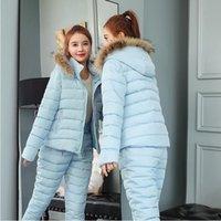 Two Piece Dress Winter Women Warm Snow Set Hooded Parka Coat Pant Tracksuit Female Down Cotton Jacket Suit