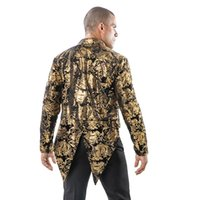 Men's Suits & Blazers Fashion Flower Gold Stamp Men Dress Coat Costume Slim Fit Back Center Slit Nightclub Tuxedo Stage Host Singer