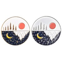 Day and Night Enamel Pin Sun Moon Stars Mountains Brooches Bag Clothes Lapel Pins Badge Outdoor Jewelry Gift for Lover Friends