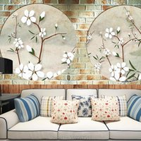 Wallpapers Custom Flowers Bird Brick 3d Wallpaper For Walls Large Papel Pared Stickers Home Decor Living Room Decoration Mural Background