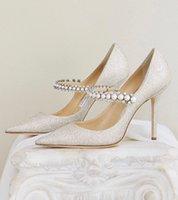 Италия Лондон Baily Pumps Blitter Женские Сандалии Обувь Кристалл Жемчужный Ремешок Идеальное Свадебное Свадебное Платье Направляющие Носки Высокие каблуки Леди Роскошные EU35-42