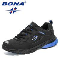 BONA 2021 جديد المصممين أحذية المشي الرجال أحذية رياضية في الهواء الطلق الاحذية رجل تنفس الرياضة المستخدمة في حلقة مفرغة zapatill مريح