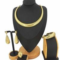 Orecchini collana in lega di zinco placcato oro placcato set di gioielli stile brasiliano italiano design di lusso moda donna costume accessori partito regalo