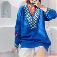 Designer high quality L blue V-neck Knits sweater women's pullover loose design feeling long-sleeved top