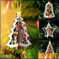 Decorazioni natalizie Forniture festive Gardenchristmas ornamenti natale albero di Natale decorazione della festa del partito 3d pendenti di alta qualità Ciondolo in legno Decora