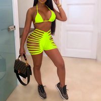 Women's Tracksuits Fashion Sexy Solid Color Striped Strappy Tight Shorts Suit Transparent Mesh See-through Hollow Top + Slim Two-piece