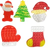 Christmas Santa Claus Hat Tree Gloves Socks Party Favors Rodent Pioneer Rainbow Kids Toys Silicone Knick-knack Develop Creative Jewish Thinking Educational Bauble