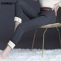 Толстая зимняя женщина брюки высокого растяжения бархат высокая талия теплые женщины повседневный сплошной цвет тонкие черные брюки женские капризы