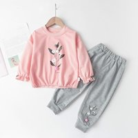 Clothing Sets Baby Girls Autumn Girl Leaves Printed Outfits Kids Casual Tracksuit Soft Children Suit 1-5Y