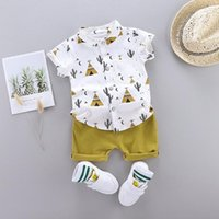 1-4years Erkek Bebek Giyim Seti Karikatür Bebek Erkek Giysileri T-Shirt Tops + Şort 2021 Yaz Kıyafetleri Setleri