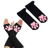 Five fingers gloves mitten cycling 3D Silicones Cat Poot Gloves Socks Cute Kittens Fingerless Walls Pawpad Women Christmas Halloween Cosplay 0910