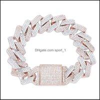 Bangle Bracelets Jewelryhigh Quality Hip Hop Fl Nail Bracelet Micro Cubic Zirconia Copper Pendant 4 Colour Set Diamond Miami Cuban Drop Deli