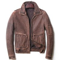 Men's Leather & Faux Mens Casual Overcoats 4XL 5XL Genuine Cowskin Motorcycle Jackets Biker Jacket Short Slim Vintage Gray Brown Coat