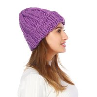 Hats for Women Solid simple coarse wool Visors hat Beanie Crochet Knit Kufi Flower Skull Cap Hair Accessories