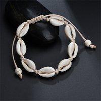 Shell Charm Armband Bohemian Handgjorda Snäckskal Justerbar Flätat Rope Bangles Kvinnor Hand Sticka Beaded Armband Strand Smycken 1537 479 Q2