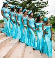사용자 정의 만든 청록색 신부 들러리 드레스 2021 새로운 아프리카 흑인 소녀 어깨 너머로 멀리 떨어져있는 흑인 소녀 드레스 공식적인 웨딩 드레스