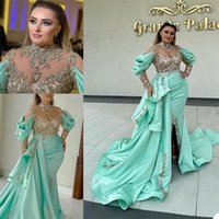 Newest Pageant Evening Dresses Appliqued Lace Tiered Satin Long Sleeves Mermaid Prom Dress Sweep Train Custom Made Chic Formal Party Gowns