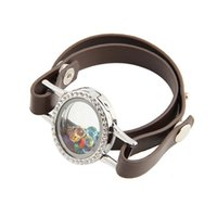 Link, Chain SHUYANI 5pcs lot Top Selling Wedding Party Wrap Leather Bracelet With Rhinestone Floating Locket Pendant