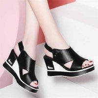 Black PU in pelle scava out piattaforma cunei roma scarpe moda peep toe antiscivolo aumento 8cm donna wearable sandals 210619