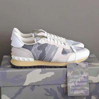 Diseñador Rockrunner Sneakers Hombres Zapatos planos Camuflaje Noir Entrenador Metálico Real Cuero Lace YP Zapatos Zapatillas Runner Sneaker con caja de regalo 264