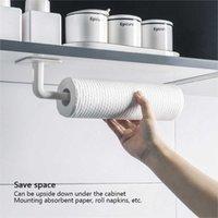 1pc Kitchen Paper Towel Holder Self-adhesive Storage Rack Under Cabinet Roll Rack Tissue Hanger for Bathroom Toilet Accessories Y0622