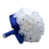 Braut Hochzeitsstrauß Kristall Rosen Brautjungfer Hochzeitsstrauß Braut Künstliche Seide Blumen Strass Perle Dekoration 2127 v2