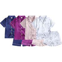 Pajamas 2021 Summer Children Clothes Pajama Set Stain Silk Soft Solid Color Comfortable Kids Girls Boys Sleepwear Suit