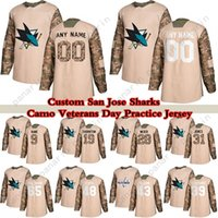 Custom Camo Veterans Day Practice San Jose Tubarões Hóquei Jerseys 88 Brent Burns 48 Tomas Hertl 65 Erik Karlsson 9 Evander Kane Qualquer número e nome