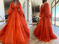 Vintage Orange V neck Prom Evening Dresses Formal Gowns Boho Long Poet Sleeves PLeated A line Chiffon Bridesmaid Pageant Dresess