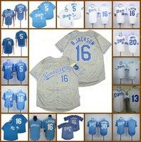 Aposentado 16 Bo Jackson Baseball Jersey 5 George Brett 13 Salvador Perez 20 Branco 30 Yordano Ventura 1985 1987 Vintage Retro Cooperstown Mesh